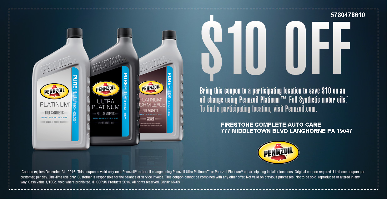 Pennzoil Coupon 5 10 Off Any Oil Change Printable Coupons