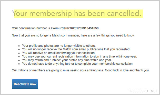 How to cancel subscription to match com